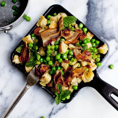 Pea and Bacon Panzanella with Warm Vinaigrette