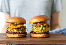 Quinoa Tabbouleh Chickpea Burger with Beet Ketchup & Roasted Peaches