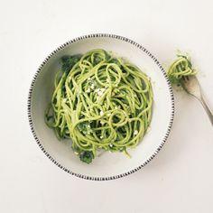 Spaghetti with Swiss chard, cilantro, and cashew pesto and goat cheese