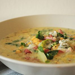 32142cad 979b 42b9 b5e8 c86e0108449c  heart warming corn soup with polenta bacon chards and gorgonzola from in whirl of inspiration