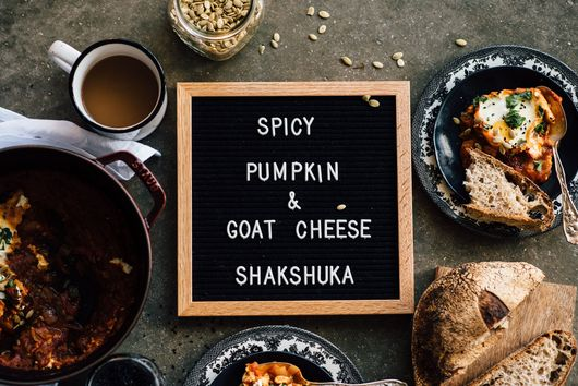 spicy pumpkin + goat cheese shakshuka