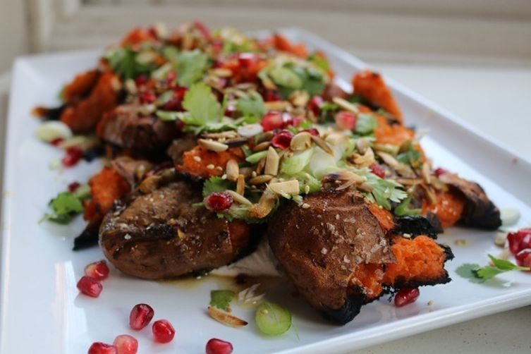 Twice Baked Sweet Potatoes with Tahini Yogurt and Pomegranate Seeds