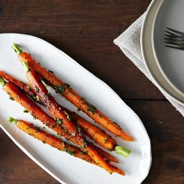 Roasted Carrots with Mustard Greens Gremolata