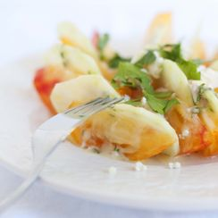 Heirloom Tomato, Cucumber, and Blue Cheese Salad with Herb, Creme Fraiche, and Lemon Dressing