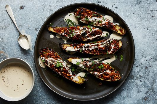 Stuffed Zucchini with Freekeh Pilaf and Currants