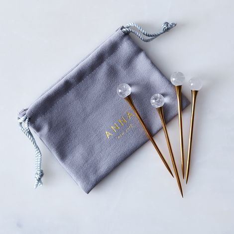 Crystal & Gold Cocktail Picks (Set of 4)