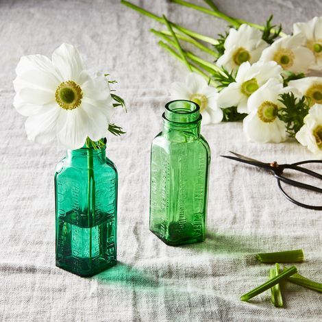Vintage French Small Green Apothecary Jars (Set of 2)