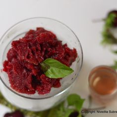 Cherry , lime & basil granita