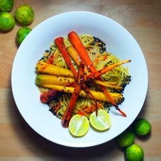 Citrus Green Tea Soba with Glazed Rainbow Carrots