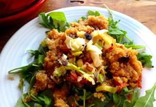 Quinoa Salad with Roasted Tomatoes and Fried Leeks