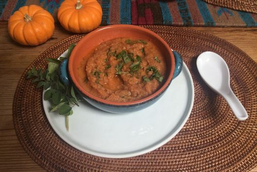 Grilled Vegetable and Yellow Fava Bean Soup