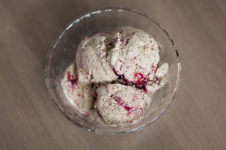 Earl Grey Ice Cream with Blackberry Swirl