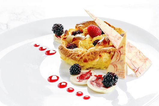 White Chocolate Marzipan Bread & Butter Pudding
