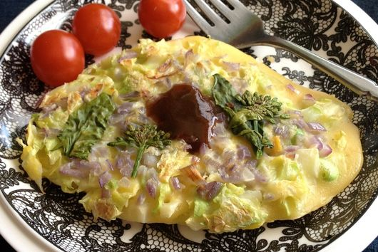 Vegetarian Okonomiyaki with Homemade Chuno Sauce