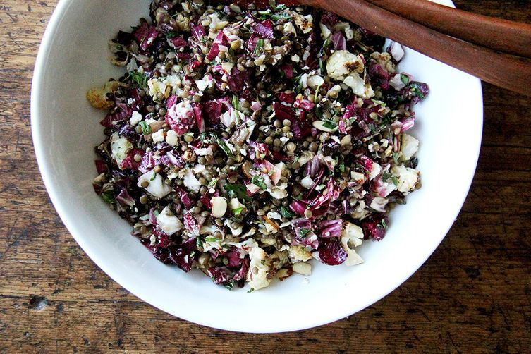 Lentil Salad with Roasted Radicchio & Cauliflower