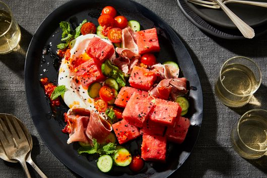 Spicy Watermelon With Tomatoes, Prosciutto & Salted-Lime Yogurt