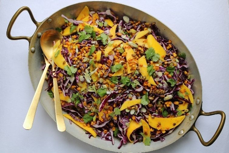 Mango and Cabbage Slaw with Toasted Pepitas and Agave-Lime Vinaigrette