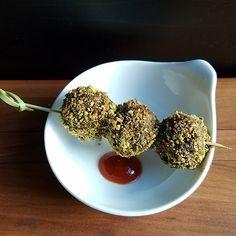 Lamb Meatballs with Orange Date Glaze and Pistachios
