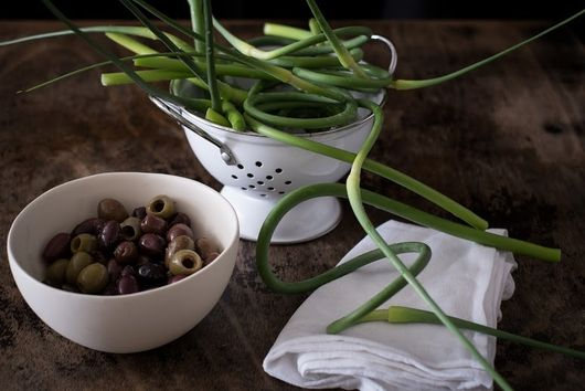 Grilled Garlic Scapes in Tapenade