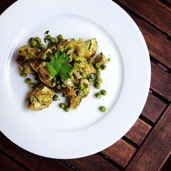 Braised Artichokes and Peas