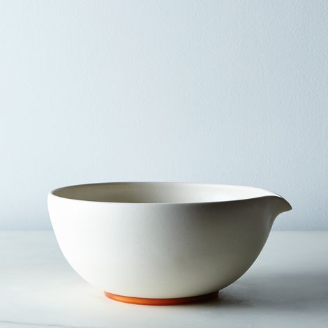 White and Copper Ceramic Serving Bowl