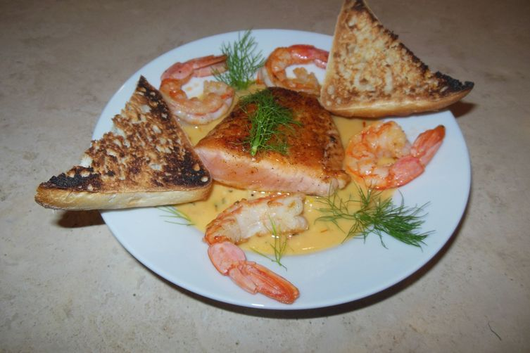 Salmon and Shrimp in Saffron Cream Sauce