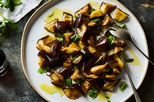 Warm Eggplant & Mint Salad