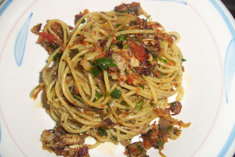 Spaghettini with sardines