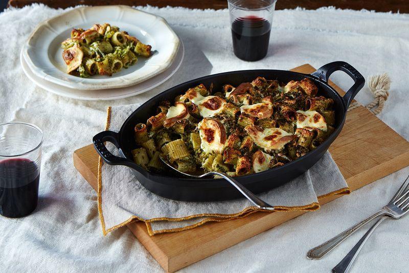 Mezzi Rigatoni with Broccoli Pesto and Smoked Mozzarella