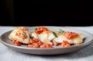 Halibut w/ Basil, Garlic, and Tomato