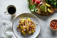 Potato, Chorizo, and Cheddar Breakfast Tacos