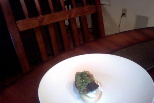 Sweetbreads Crostini with on-hand Chimichurri