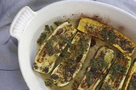 Roasted Zucchini with Chili-Mint Vinaigrette