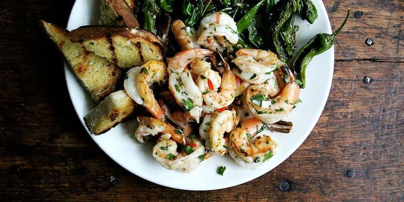 Cast iron-grilled shrimp with chimichurri sauce