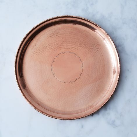 Vintage Copper Round Cocktail Tray, Late 19th Century