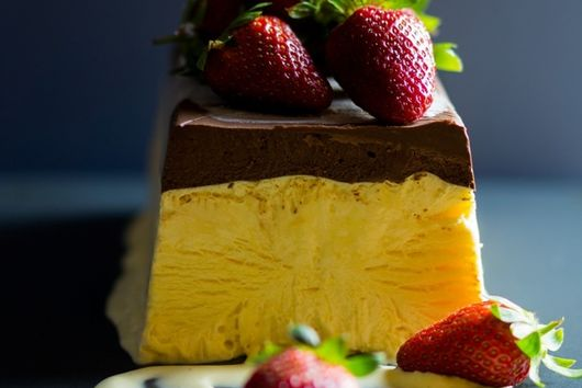 Passionfruit Semifreddo with Frozen Dark Chocolate Sauce