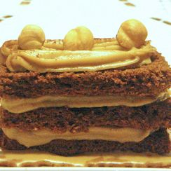 Chocolate, Coffee and Hazelnut Cake with Cappuccino Custard Cream