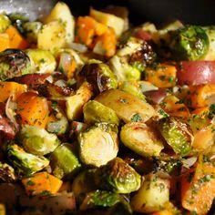 Roasted Squash, Potatoes and Brusslies with Fresh Herbs, Aromatics and Vinegar