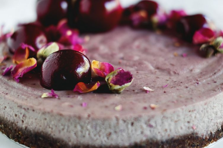 Cherry + rose raw cheesecake