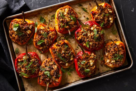 Stuffed Peppers With Lamb, Orzo & Halloumi