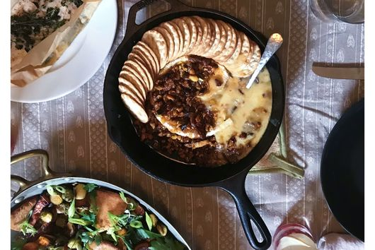 Baked Brie with Roasted Nuts and Figs