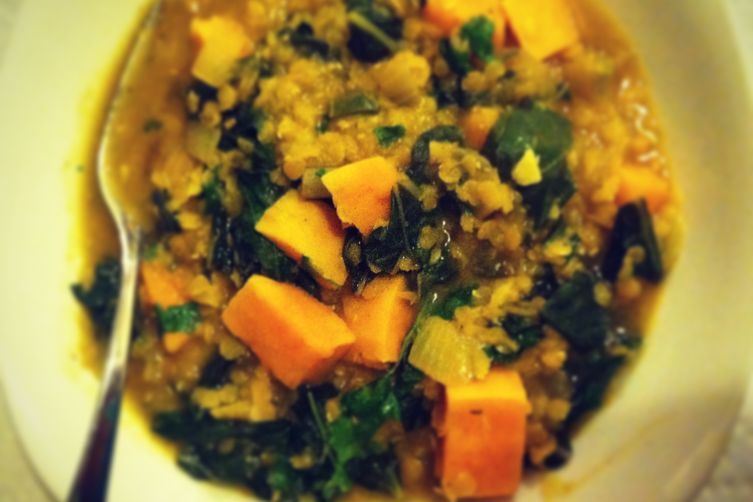 curried lentils with sweet potatoes.