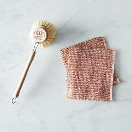 Woven Copper Dishcloths and Beechwood Dish Brush