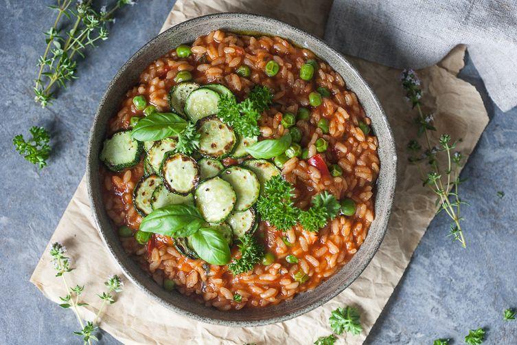 Grilled Zucchini Tomato Risotto