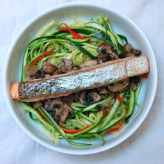 Roast Salmon with Lemon Zucchini Spaghetti and Tarragon Mushrooms