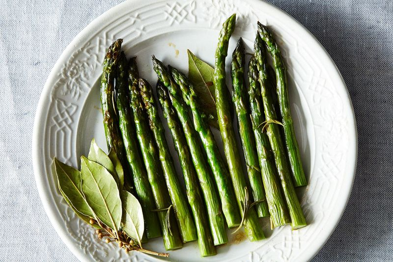 Patricia Wells' Asparagus Braised with Fresh Rosemary and Bay Leaves