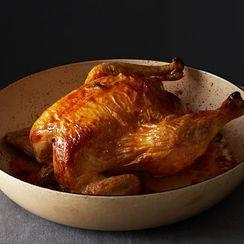 Barbara Kafka's Simplest Roast Chicken + Roasted Potatoes with Green Sauce
