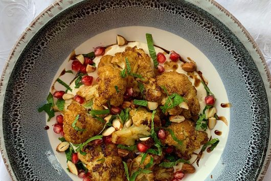 Roasted Cauliflower with Tahini and Pomegranate Molasses