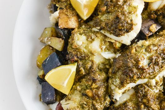 Ramp Pesto On Cod With Roasted Potatoes
