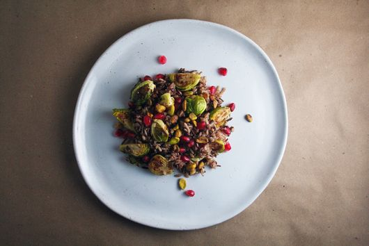 Winter Side Dish — Wild Rice, Brussels Sprouts, Pomegranate, and Pistachios